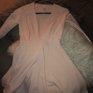 V neck Long Sleeve Pink Dress